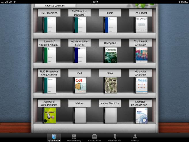 My Browzine Journal Shelf