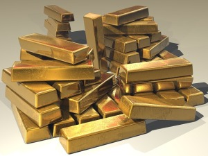 A huge pile of gold ingots