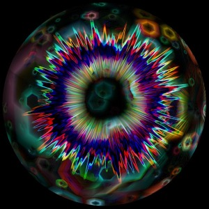 Multicoloured explosion of impact